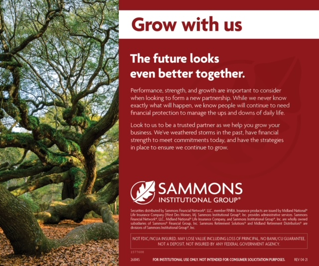 Ad: Sammons Institutional Group. Grow with us. The future looks better together.